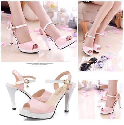 Wedges Pink Modis jual shh3603 pink heels modis 11cm grosirimpor
