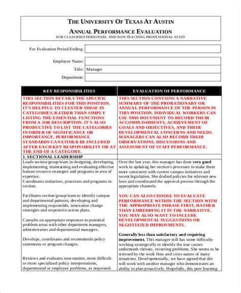 manager evaluation template printable employee evaluation form