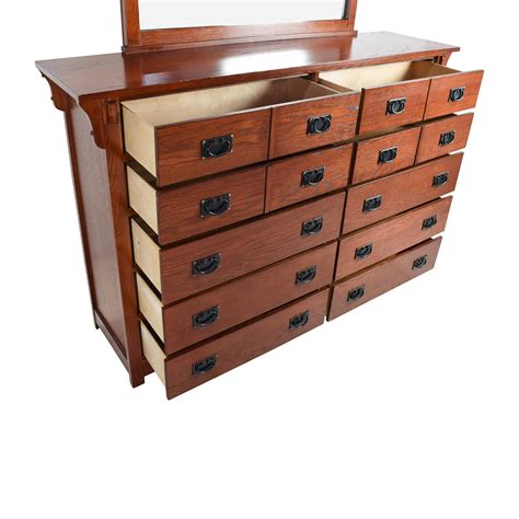Bedroom Dressers Solid Wood 69 Cherry Stained Solid Wood Bedroom Dresser With Mirror Storage