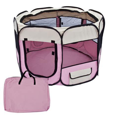 puppy exercise pen pet playpen 45 quot exercise puppy pen kennel folding design easy storage pink ebay