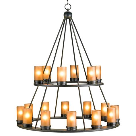 Wrought Iron Candle Chandeliers Black Wrought Iron Rustic Lodge Tiered 18 Light Candle Chandelier