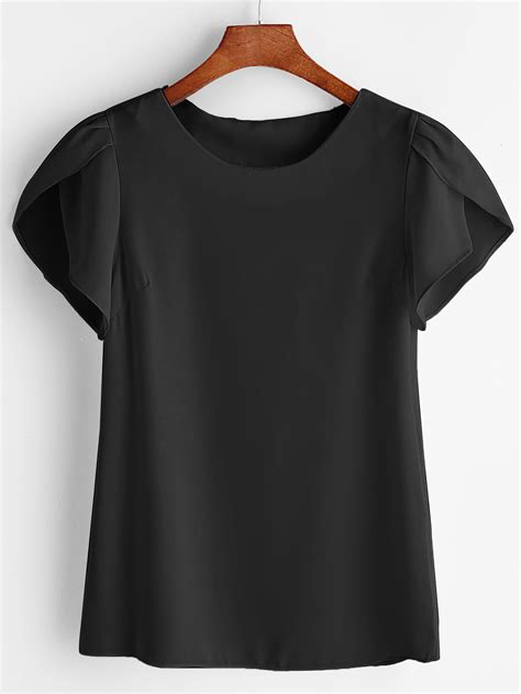 petal sleeve chiffon blouse