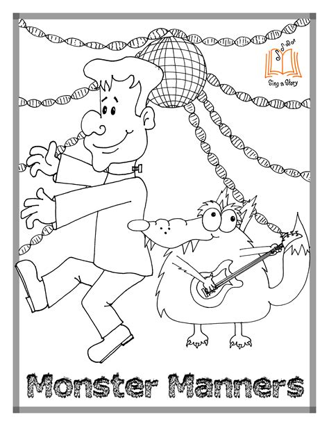 monster manners coloring page monster manners coloring pages sing a story