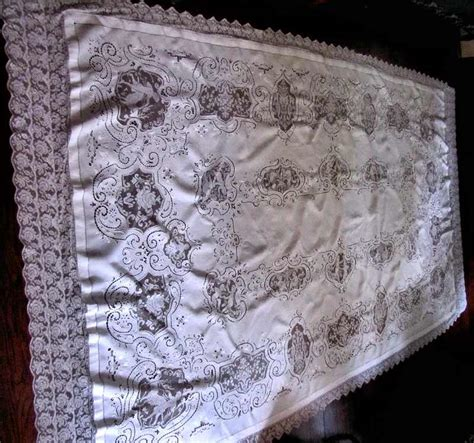 Handmade Lace Tablecloth - tablecloth 143 vintage banquet size linen tablecloth