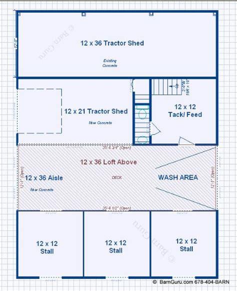 horse stall floor plans 3 stall horse barn with bath and loft barn guru com barn pinterest horse barns barn and