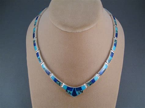 how to make inlay jewelry turquoise lapis inlay necklace two grey