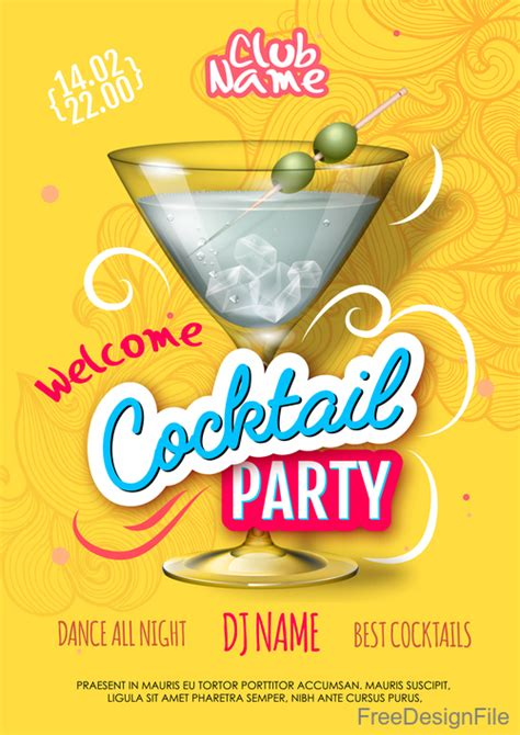 Cocktail Party Flyer Template Free
