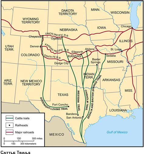 texas cattle trails map us history maps