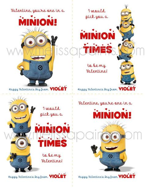 minion valentines day card custom minion despicable me printable cards