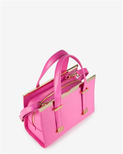 Pink Bag ted baker small crosshatch leather tote bag in pink