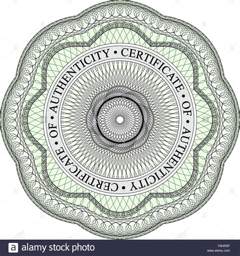 design and visual communication authenticity form guilloche seal with circular text stating certificate of