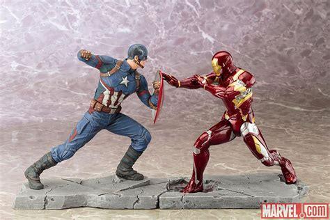 Kotobukiya Artfx Ironman Black Version Ori it s captain america vs iron in kotobukiya s