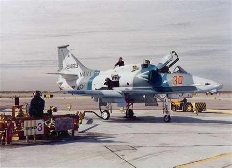 Four On A by File A 4m Skyhawk Vf 126 Being Serviced At Nas Miramar