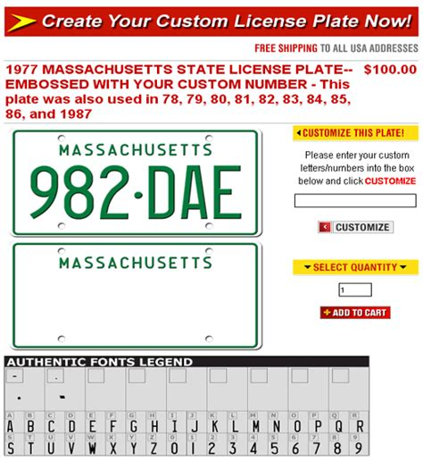 Vanity Plate Creator by Platemaker Custom Front License Plates Personalized