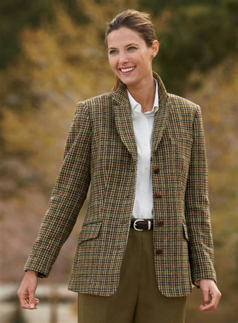Womens Plaid Tailored Jacket / Houndstooth Hacking Jacket ... Waistcoats For Women