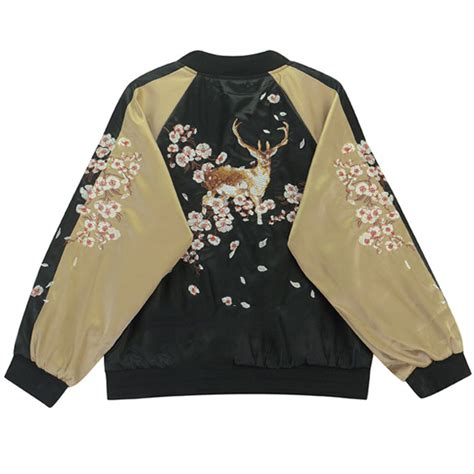 embroidery jacket deer embroidery bomber jacket m l 183 asian kawaii