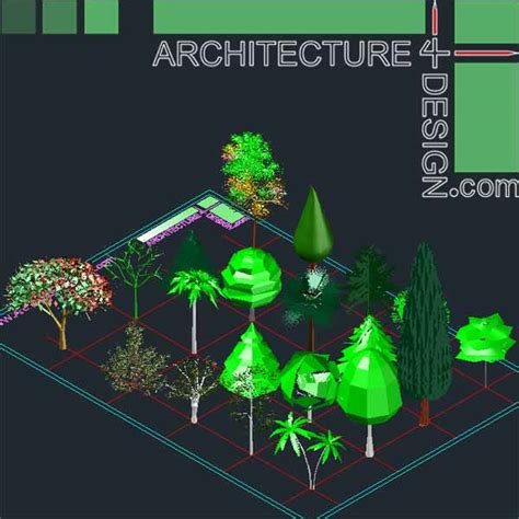 Home Design Software 2014 by Autocad 3d Trees And Shrubs Models Dwg File