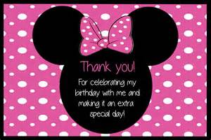 pink polka dot minnie mouse thank you card by