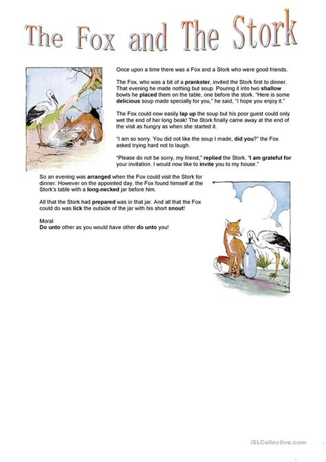 Aesop S Fables Worksheets by The Fox And The Stork Aesop Fable Worksheet Free Esl