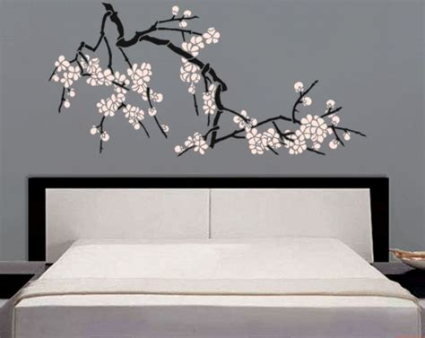 stencil japanese cherry blossoms large branch stencil
