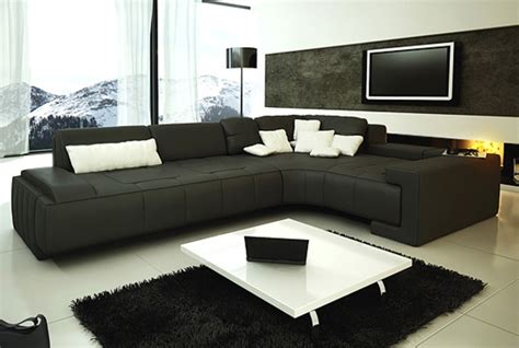 Black Modern Sectional by Franco Collection Modern Sectional Sofa Black Tos Lf