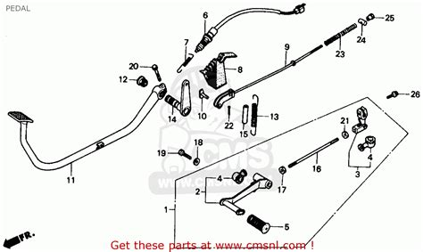 honda rebel 250 parts diagram honda cmx250c rebel 250 1986 g usa pedal schematic