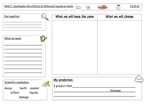 ideas for ks2 science investigations year 3 teeth investigation sheet by lozn85 teaching