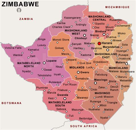 printable map of zimbabwe in africa share