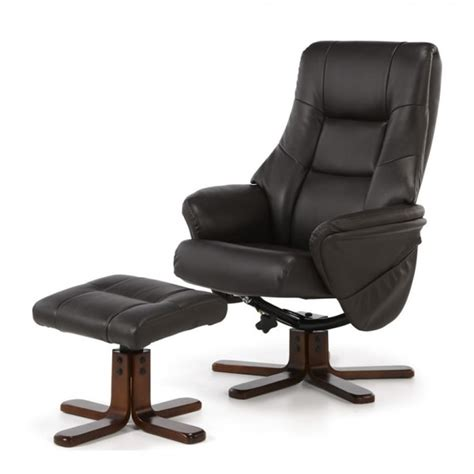 Brown Leather Recliner Chair And Stool by Welton Brown Faux Leather Recliner Chair And Stool