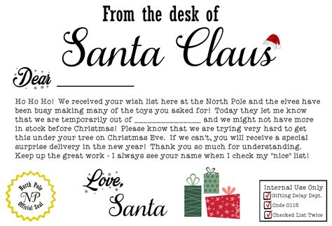 Late Gift Letter From Santa free santa claus present iou printable letter