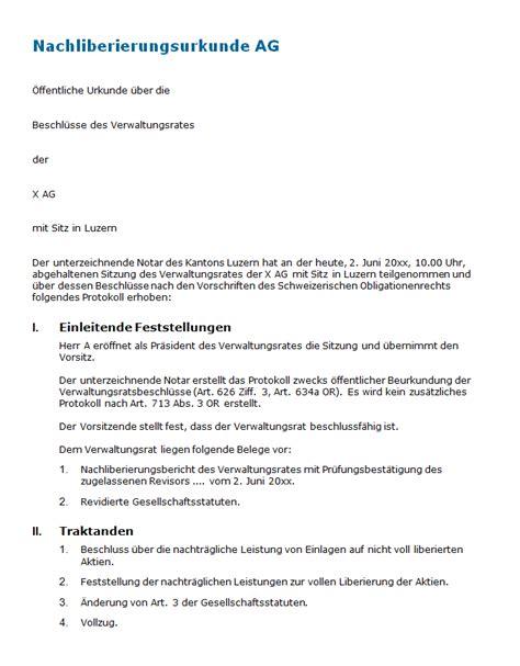 Vertragsvorlagen Muster nachliberierungsurkunde ag muster zum