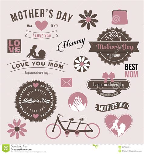 day design vintage mothers day design graphic elements eps 10 vector