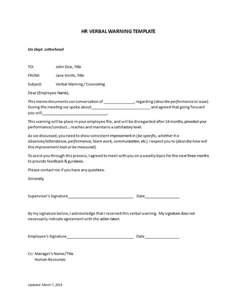 hr verbal warning letter templates