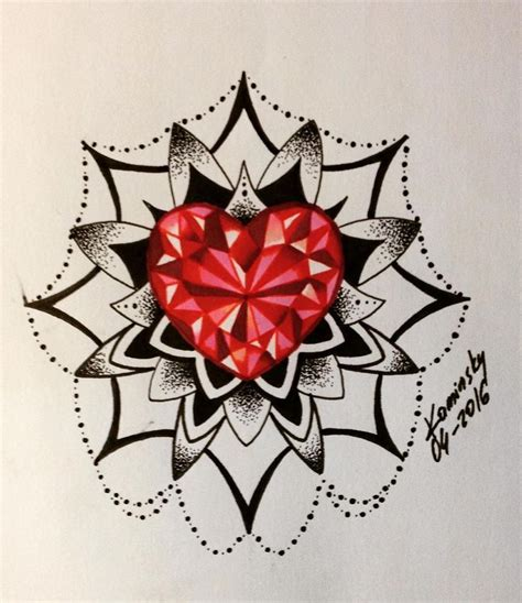 diamond heart tattoo mandala