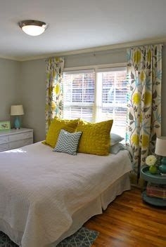 light gray walls robin s egg blue bedding bright yellow curtains white dresser the