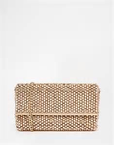 dune eternity beaded clutch bag in rose gold in pink lyst