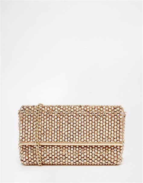beaded clutch bag lyst dune eternity beaded clutch bag in gold in pink