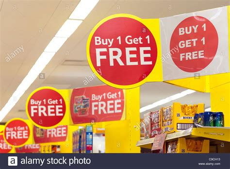 buy uk buy one get one free and special offers signs at tesco