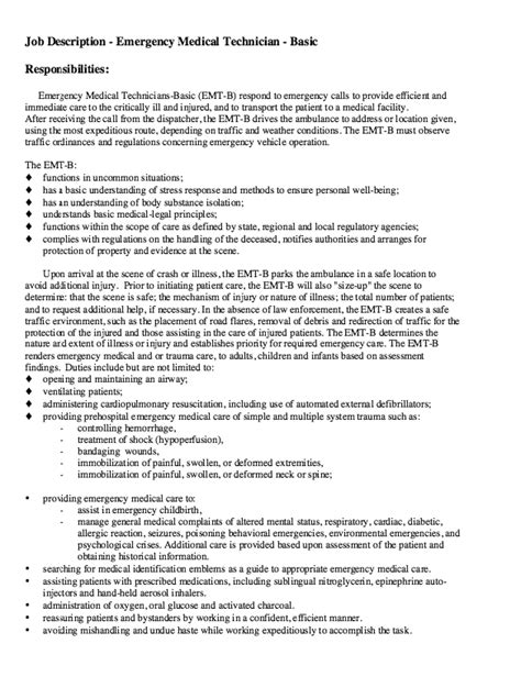 Emt Resume by Emt Description Free Resume Sle