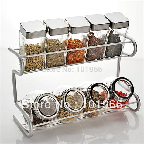 Stainless Steel Spice Racks For Kitchen Free Shipping 9 Glass Spice Bottle Jars With 2 Tier