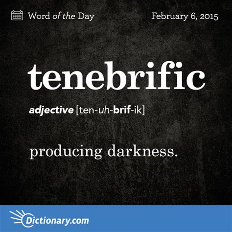 tenebrific word of the day dictionary