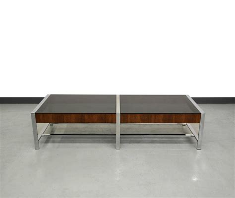 Mid Century Glass Coffee Table Mid Century Modern Chrome And Smoked Glass Coffee Table At 1stdibs
