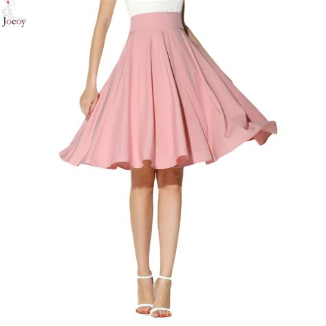 black white pink green high waist midi skater skirt