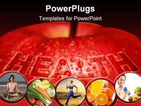 powerpoint templates health an apple covered with water droplets and text health