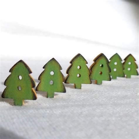 tiny green christmas tree buttons christmas button wood set