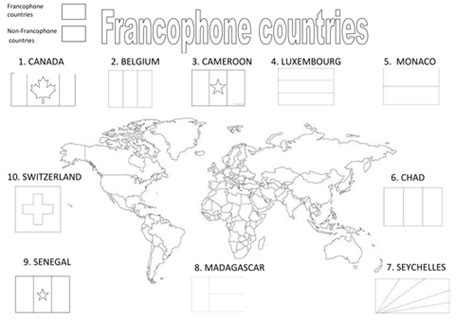printable world map in french francophone countries by becobbold teaching resources tes