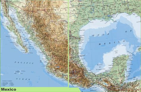 physical maps of mexico large detailed physical map of mexico