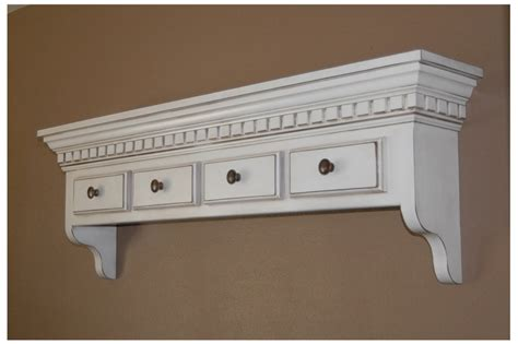 Wall Of Drawers by 4 Drawer Decorative Handmade Wall Shelf With Crown And Dentil Molding