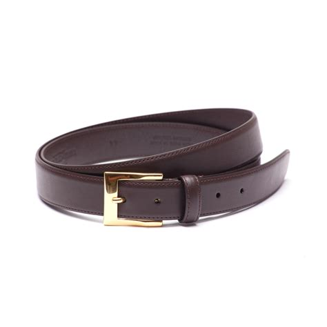 soft calf leather belt with brass buckle brown dege