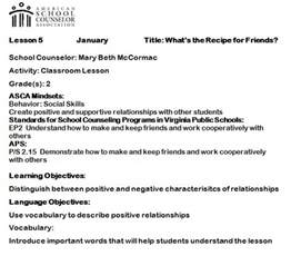 School Counselor Lesson Plan Template by Elementary Counseling Using Asca Mindsets In Lesson